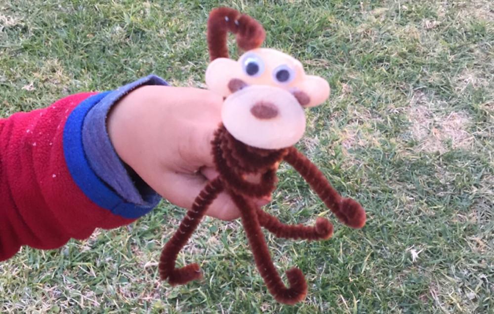 Pipe Cleaner Monkey Finger Puppet