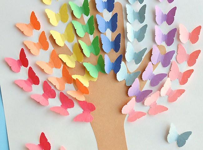 Rainbow Handprint Butterfly Tree