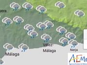 La lluvia y el fuerte viento, protagonistas este lunes en la comarca de la Axarquía