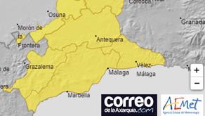 Última hora: La AEMET activa el aviso amarillo por precipitaciones en la Axarquía