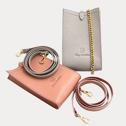 Giusy Lamattina phone bag in nude and gray leather