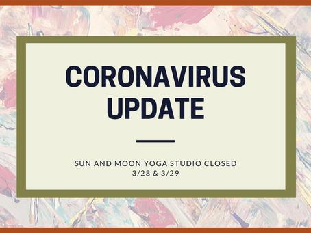 Coronavirus Update: Studio Closed 3/28 and 3/29
