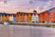 Puerto de Bergen (Noruega) en el atardecer