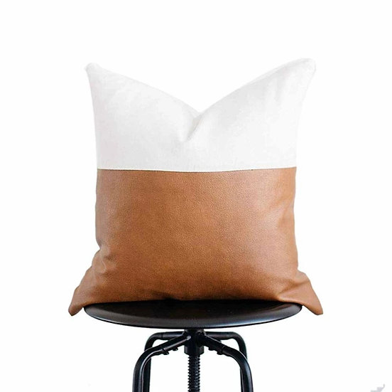 Leather Block Pillow Cover