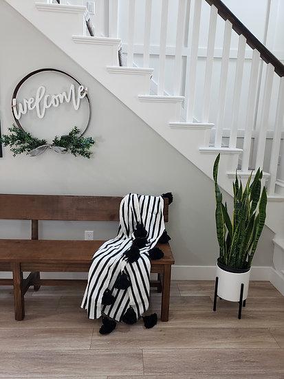 Black Stripe  Pom Pom Blanket