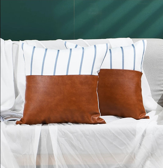 Blue stripe leather block pillow cover
