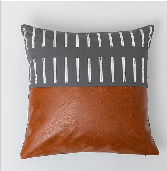 Gray dash leather canvas pillow cover