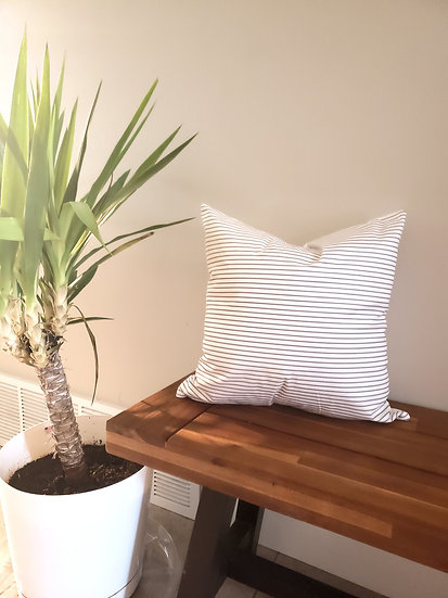 Gray Thin Stripe Pillow Cover