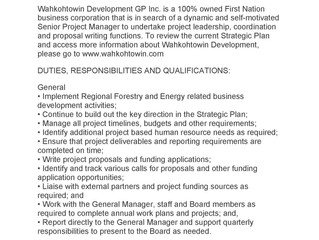 Employment Opportunity   Wahkohtowin Development GP Inc. - Senior Project Manager