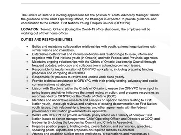 Employment Opportunity - Chiefs of Ontario - Director of Health & Youth Advocacy Manager