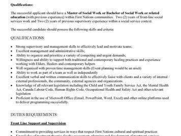 Job Posting - MCFN Family Services Supervisor