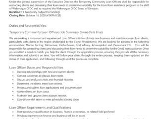 Job Opportunity - Temporary Community Loan Officers - BCF program