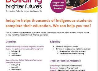 Indspire's Building Brighter Futures: Bursaries, Scholarships and Awards (BBF)