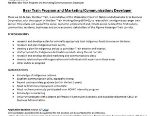 Bear Train Program and Marketing/Communications Developer