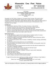 Job Posting - Governance Project Assistant