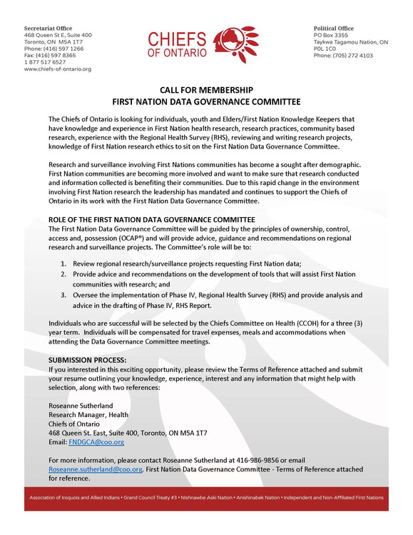 Chiefs of Ontario - Call Out for First Nation Data Governance Committee