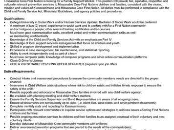 Family Support Worker Job Posting
