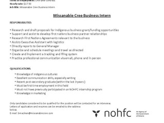 Job Opportunity - Missanabie Cree Business Intern
