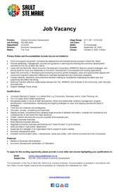 Sault Ste. Marie Job Opportunity - Director Economic Development