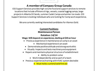 Employment Opportunity: Maintenance Person - ESS