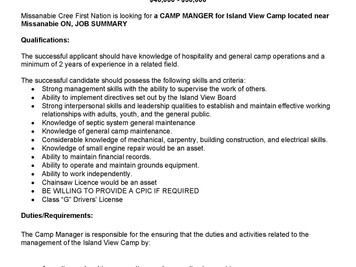Islandview Camp - Camp Managers Job Posting