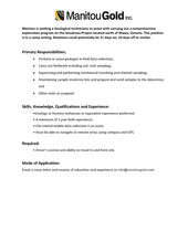 Manitou Gold Inc. Job Opportunity