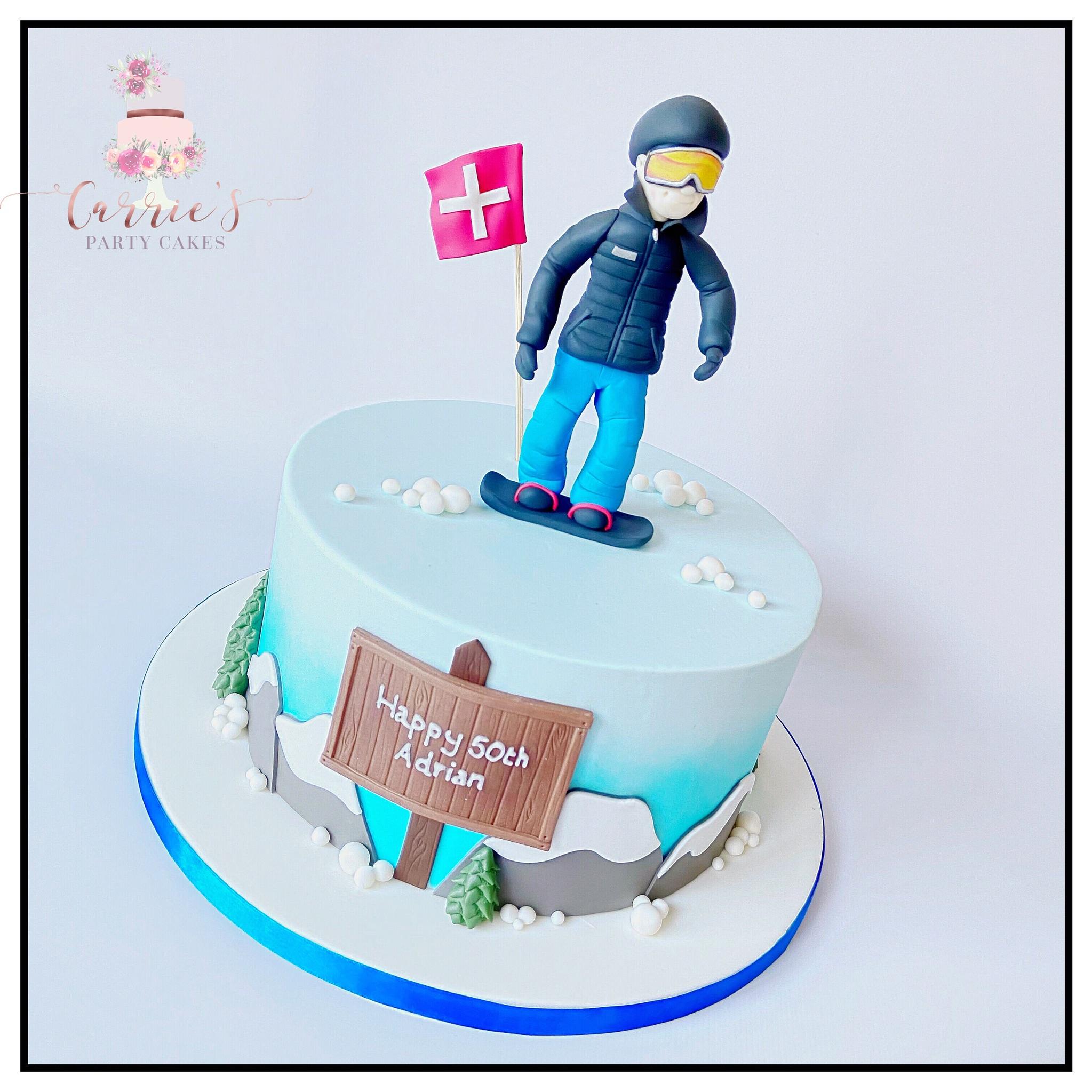 snowboarder cake
