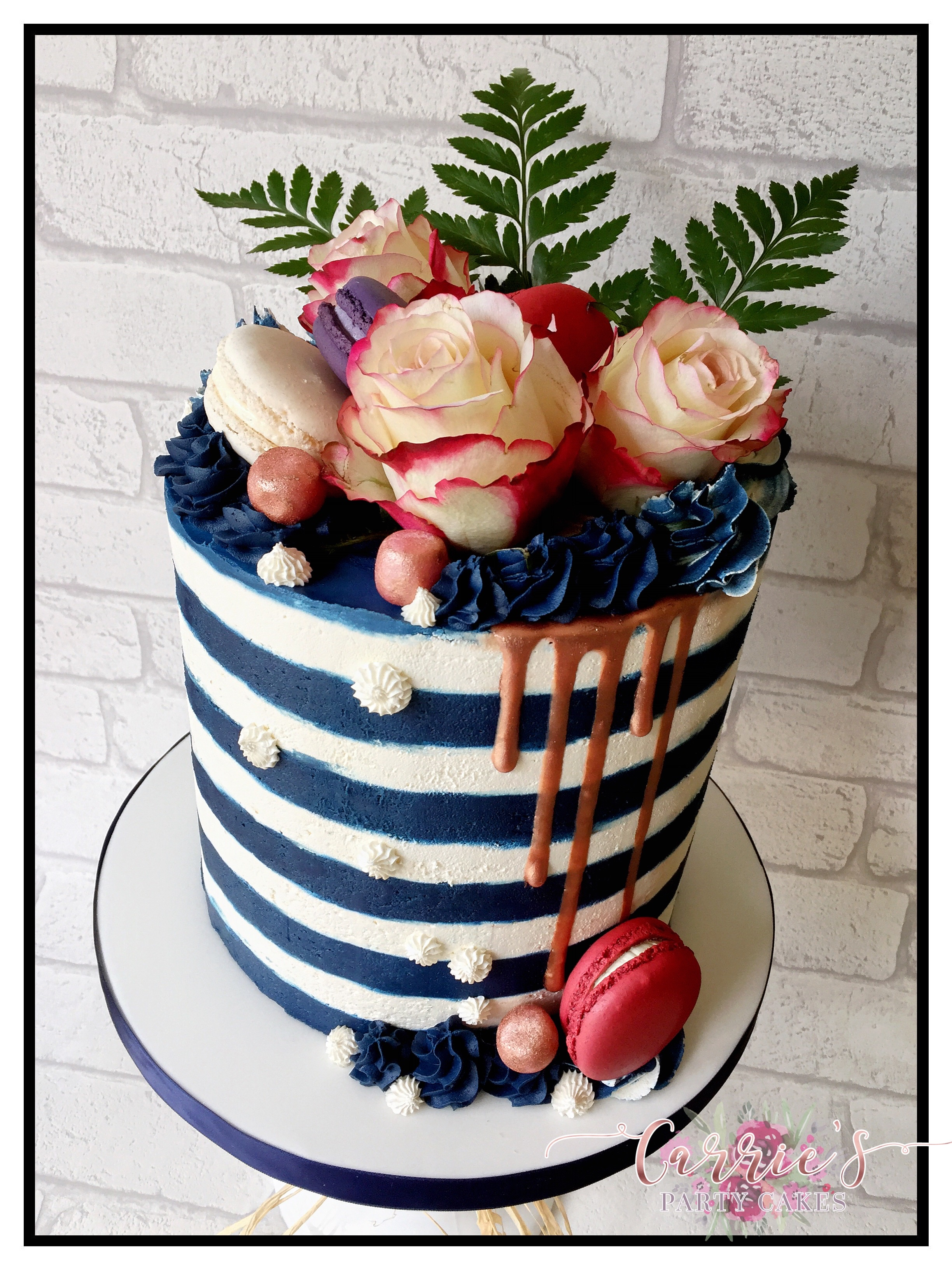 stripy buttercream cake