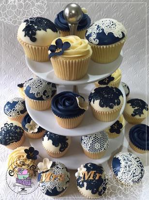 navy wedding cupcakes