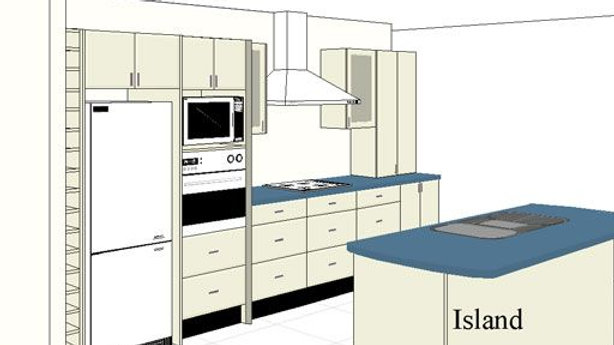 I Shape Modular Kitchen