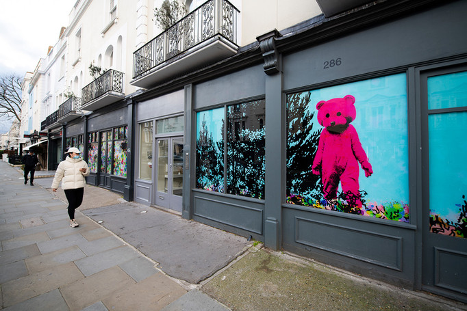 KCAW + Clear Channel Gallery Outside 2021 LUAP's 'Good Vibrations' part of KCAW High Street Windows 2021