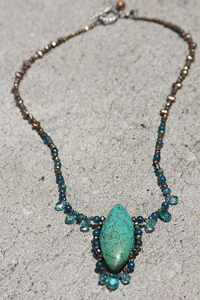 Antique Turquoise and Apatite Necklace