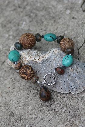 Turquoise nut bead bracelet