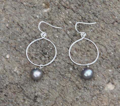 Silver Pearl Hoop