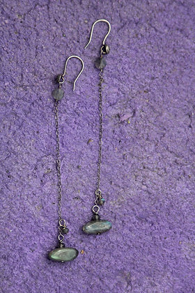 Labradorite sterling chain earrings