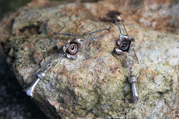 Silver Flower Squash Blossom Earrings