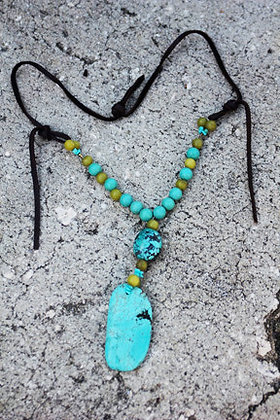 """The Warrior"" Turquoise and Leather Necklace"
