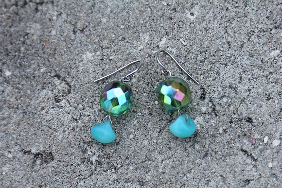 Green Fringe Earrings