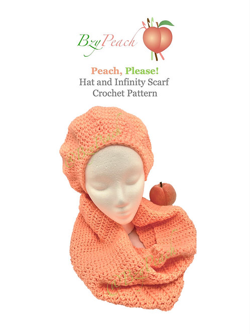 Peach Please Hat and Scarf Crochet Pattern