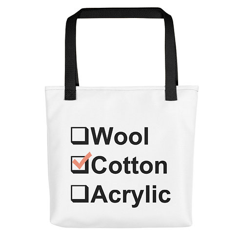 I Prefer Cotton Tote - Black Letters