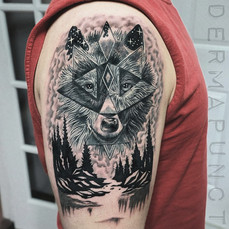 geometric wolf tattoos, dermapunct