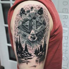 geometric wolf tattoos, dermapunct