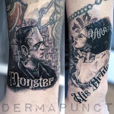 best miniature portrait tattoos, franken