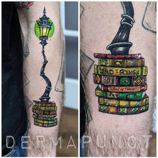new school tattoo, lampost tattoos, derm