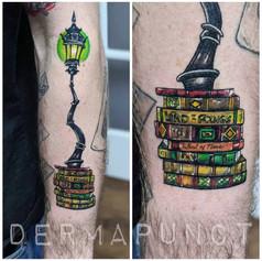 new school tattoo, lampost tattoos, derm