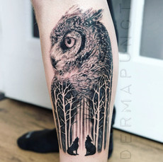 best owl tattoos, dermapunct