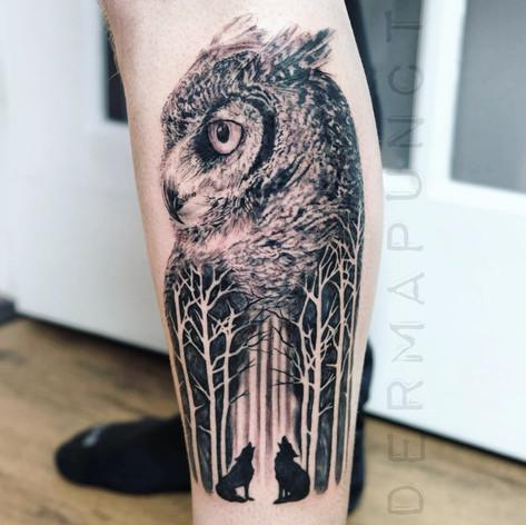 best owl tattoos, dermapunct