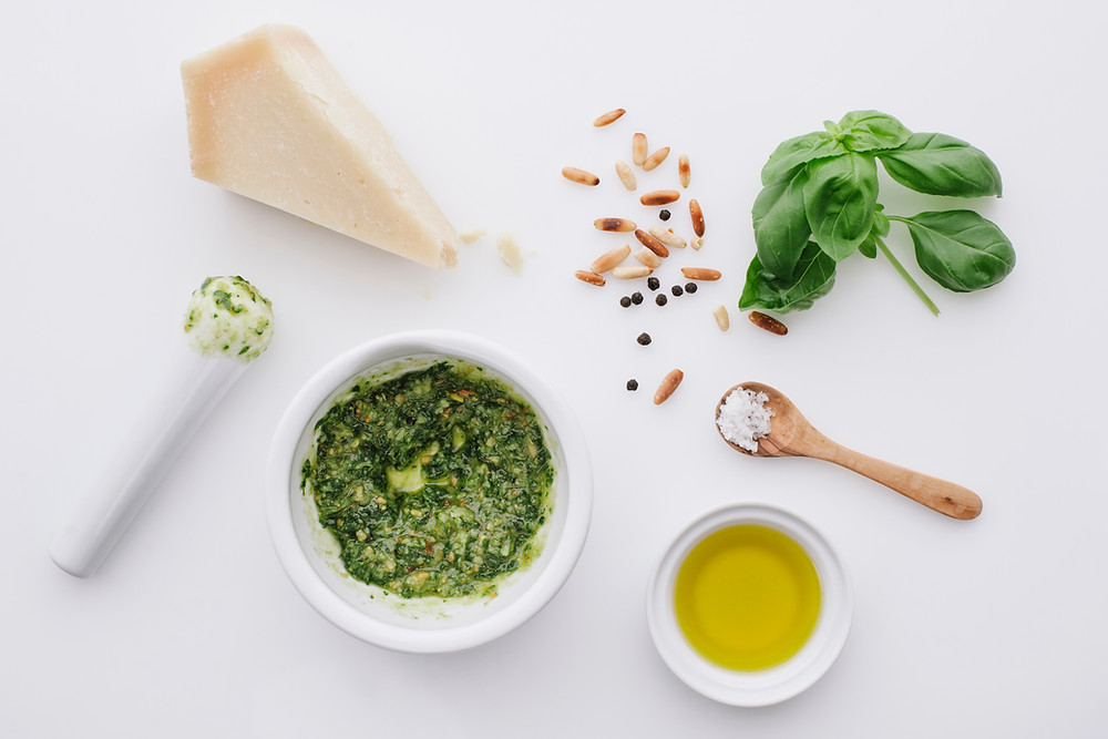 Ingredients for a basic pesto