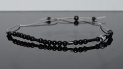 Black Onyx Style Silk Cord Bracelet
