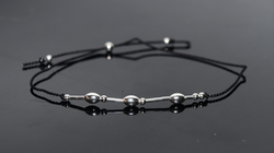 Classic Style Silk Cord Bracelet with Silver Oval Accents
